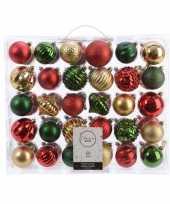 Kerstversiering kerstballen set dennen groen goud rood 60 delig