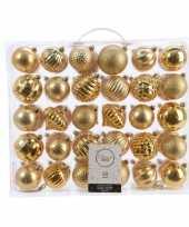 Kerstversiering kerstballen set goud 60 delig kunststof