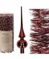 Kerstversiering set donkerrode piek folieslinger en kralensli