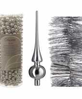 Kerstversiering set zilveren piek folieslinger en kralenslinger