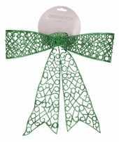 Kerstversiering strik groen 36 cm