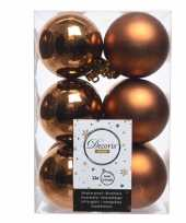 Koper bruine kerstversiering kerstballen kunststof 6 cm