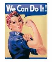 Metalen versiering plaat we can do it feminisme