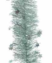 Mint groene kerstversiering folie slinger met ster 270 cm