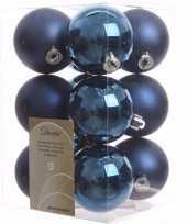 Mystic christmas kerstboom versiering kerstballen blauw 12 x