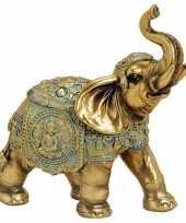 Olifant dieren beeldje goud 16 cm woonversiering