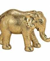 Olifant dieren beeldje goud 18 cm woonversiering