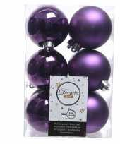 Paarse kerstversiering kerstballen kunststof 6 cm