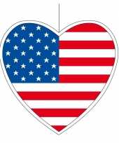 Papieren versiering hart amerika 14 cm
