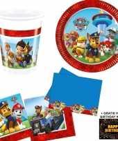 Paw patrol kinderfeestje versiering tafel pakket 8 pers kaart