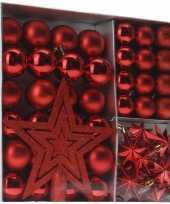 Rode kerstboomversiering 45 delig