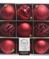 Rode kerstversiering kerstballen set van kunststof 9 stuks
