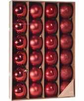 Rode kerstversiering kerstballenset 24 stuks kunststof 6 cm