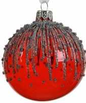 Rode kerstversiering transparante kerstballen van glas 8 cm 10104723