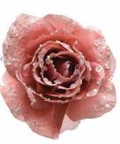 Roze versiering bloem 14 cm op clip