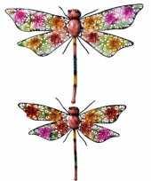 Set van 2 metalen libelles gekleurd 33 en 47 cm tuin versiering