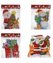 Set van 4x stuks kerst raamstickers raamversiering 3d van 25 x 34 cm 10240250