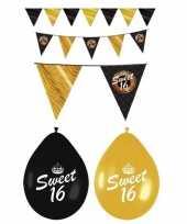 Sweet 16 feestversiering pakket zwart en goud