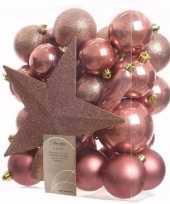 Sweet christmas kerstboom versiering set oud roze 33 delig