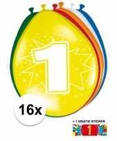 Versiering 1 jaar ballonnen 30 cm 16x sticker