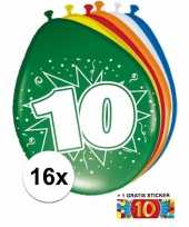 Versiering 10 jaar ballonnen 30 cm 16x sticker