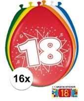 Versiering 18 jaar ballonnen 30 cm 16x sticker