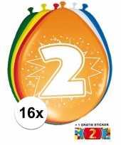 Versiering 2 jaar ballonnen 30 cm 16x sticker