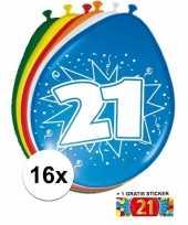 Versiering 21 jaar ballonnen 30 cm 16x sticker