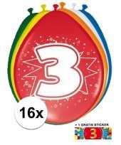 Versiering 3 jaar ballonnen 30 cm 16x sticker