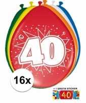 Versiering 40 jaar ballonnen 30 cm 16x sticker