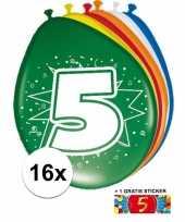 Versiering 5 jaar ballonnen 30 cm 16x sticker