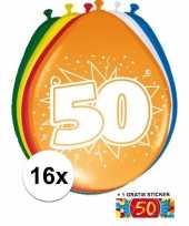 Versiering 50 jaar ballonnen 30 cm 16x sticker