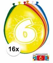 Versiering 6 jaar ballonnen 30 cm 16x sticker