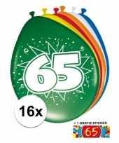 Versiering 65 jaar ballonnen 30 cm 16x sticker