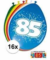 Versiering 85 jaar ballonnen 30 cm 16x sticker