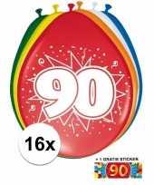 Versiering 90 jaar ballonnen 30 cm 16x sticker
