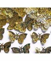 Versiering confetti gouden vlinders 60 gram