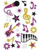 Versiering glitterende muziek stickers