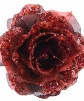 Versiering kunstbloem roos rood 14 cm