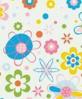 Versiering plakfolie stippen en bloemen 45 cm x 2 meter zelfklevend