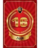 Versiering poster 16 jaar rood en goud