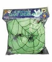 Versiering spinnenweb groen 50 gram