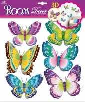 Versiering stickers groene paarse vlinders 3d 6 stuks