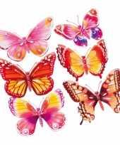 Versiering stickers roze oranje vlinders 3d 6 stuks