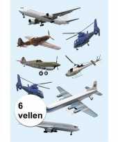 Versiering vliegtuig etiketten 6 vellen
