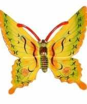 Versiering vlinder geel 17 cm kunststof