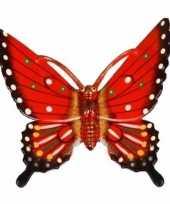 Versiering vlinder rood 17 cm kunststof