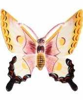 Versiering vlinder wit geel 17 cm kunststof