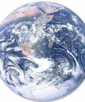 Wandversiering bord poster aarde globe 66 cm karton