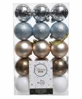Zilver bruin witte kerstversiering kerstballenset kunststof 6 cm